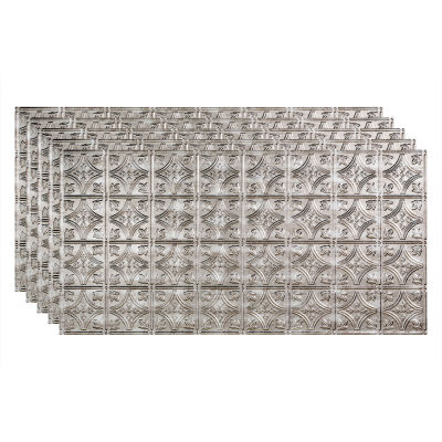 """Fasade Traditional Syle # 1 - 48-3/8"""" x 24-3/8"""" PVC Glue Up Tile in Crosshatch Silver - PG5021"""