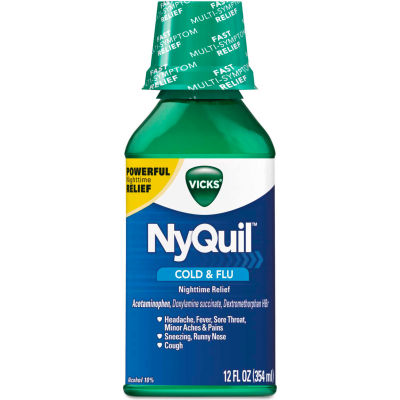 Vicks® NyQuil™ Cold & Flu Nighttime Liquid, 12 oz Bottle, 12/Carton