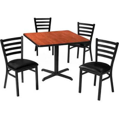 "Premier Hospitality 42"" Square Table & Ladder Back Chair Set, Mahogany/Black Vinyl Chair"