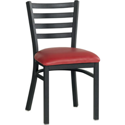 Vinyl Upholstered Restaurant Chair With Ladder Back - Burgundy - Pkg Qty 2