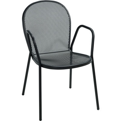 Premier Hospitality Furniture Bistro Outdoor Metal Chair With Arms - Pkg Qty 4