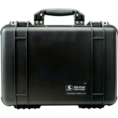 "Pelican 1500 Watertight Medium Case With Foam 16-3/4"" x 11-3/16"" x 6-1/8"", Black"