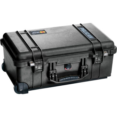 """Pelican 1510 Watertight Carry-On Wheeled Case With Foam 19-3/4"""" x 11"""" x 7-5/8"""", Black"""
