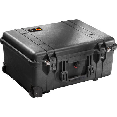 "Pelican 1560 Watertight Wheeled Large Case With Foam 22-1/16"" x 17-15/16"" x 10-7/16"", Black"