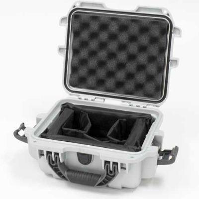 "Nanuk 905 Case w/Padded Divider, 12-1/2""L x 10""W x 6""H, Silver"