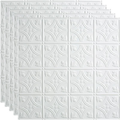 """Fasade Traditional Syle # 1 - 23-3/4"""" x 23-3/4"""" PVC Lay In Tile in Matte White - PL5001"""
