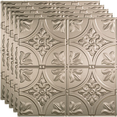 """Fasade Traditional Syle # 2 - 23-3/4"""" x 23-3/4"""" PVC Lay In Tile in Brushed Nickel - PL5229"""