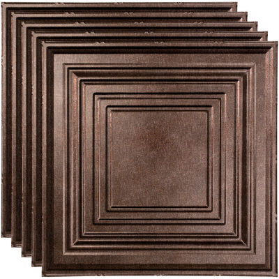 """Fasade Traditional Syle # 3 - 23-3/4"""" x 23-3/4"""" PVC Lay In Tile in Smoked Pewter - PL5427"""