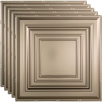"""Fasade Traditional Syle # 3 - 23-3/4"""" x 23-3/4"""" PVC Lay In Tile in Brushed Nickel - PL5429"""