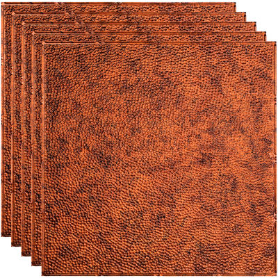 "Fasade Border Fill - 23-3/4"" x 23-3/4"" PVC Lay In Tile in Moonstone Copper - PL5918"