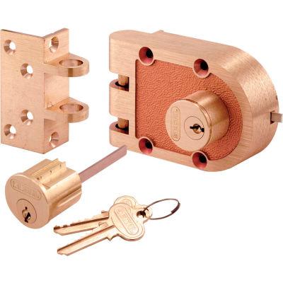 Primeline Products SE 19316 Bronze Deadlock, 688A, Double Cylinder, Angle Strk, Brs Box