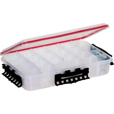 "Plano 374310 Waterproof StowAway® Utility Box 4-15 Adj Compartments 14""L x 8-7/8""W x 3""H, Clear - Pkg Qty 3"