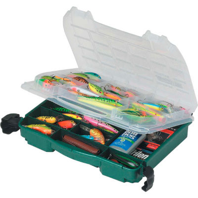 "Plano 395010 Double Cover LockJaw Compartment Box, 14-1/2""L x 11-3/4""W x 3-3/8""H, Green/Clear - Pkg Qty 4"