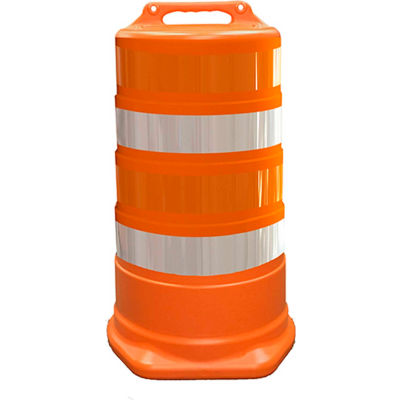 "456-HD-T-00 Commander Traffic Drum, Orange, 23-1/2""W x 39-1/2""H, 4 Reflective Orange/White Stripes"