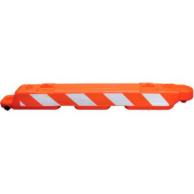 Lo-Pro Airport Plastic Orange Barricade, Interlocking, 8' Long, High Intensity Prismatic Sheeting