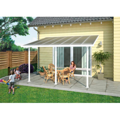 Palram, Feria Patio Cover Kit, HG9234, 34'L x 13'W, Clear Panel, White Frame