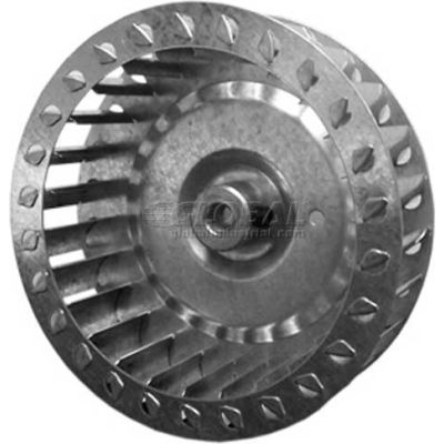 "Single Inlet Blower Wheel, 3-27/32"" Dia., CCW, 4500 RPM, 1/4"" Bore, 1-1/4""W, Galvanized"