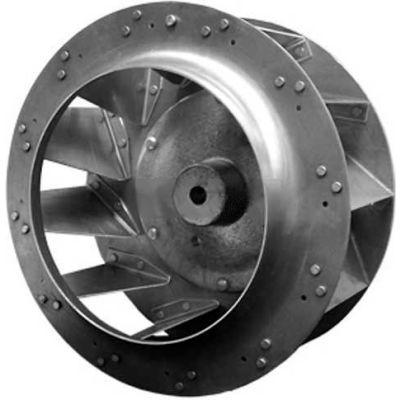 "Backward Incline Centrifugal Wheel, Rated 3450 RPM, Riveted, Aluminum, 12-3/16"" Dia., 4-15/16""W"