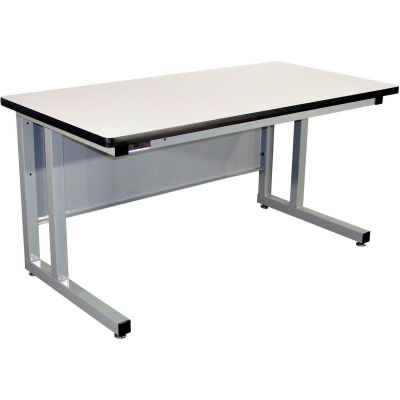 Pro-Line 72 x 30 CHD7230C-A31 Fixed Height Cantilever Heavy Duty ESD Laminate Workbench- Gray