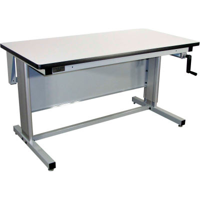 Pro-Line 72 x 30 EL7230C-L14 Ergoline Hand Crank Height Adjustable Workbench ESD Laminate Top