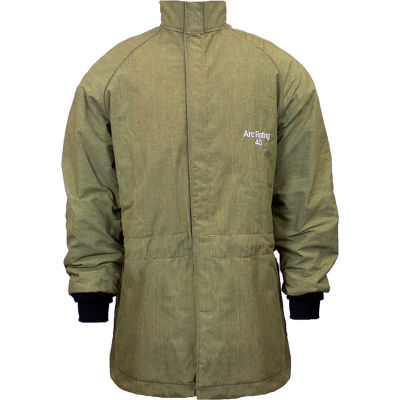 ArcGuard® 40 cal RevoLite Arc Flash Coat, XL, Olive Green, C04NPQHLTDXL32
