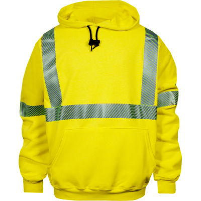 VIZABLE® FR Hi-Vis Pullover Hoodie, Class 3, Type R, S, Fluorescent Yellow
