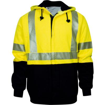 VIZABLE® FR Hybrid Lined Hi-Vis Zip Front Sweatshirt, Class 3, Type R, XL, Yellow/Navy