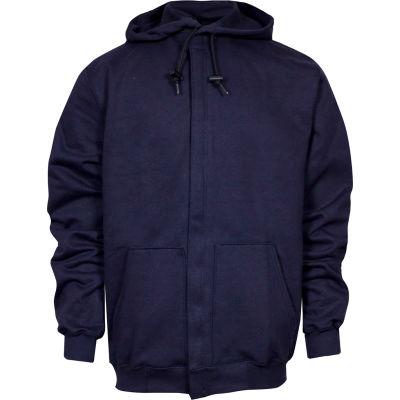 National Safety Apparel® Heavyweight Zip Front FR Sweatshirt, L-T, Navy, C21IF05LGT
