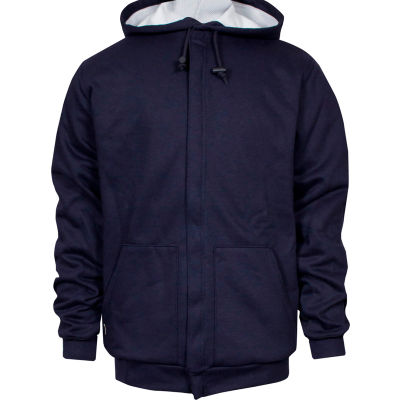 National Safety Apparel® Heavyweight Lined Zip Front FR Hoodie, S, Navy, C21IFWE05SM