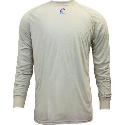 National Safety Apparel® FR Control Long Sleeve T-Shirt, L, Khaki, C51FRSRLSLG