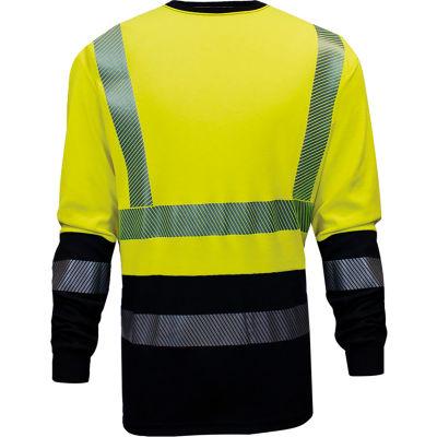VIZABLE® FR Hi-Vis Hybrid Long Sleeve Tee - Type R, Class 3, 3XL, Yellow/Navy, C54HYLSHC33XL