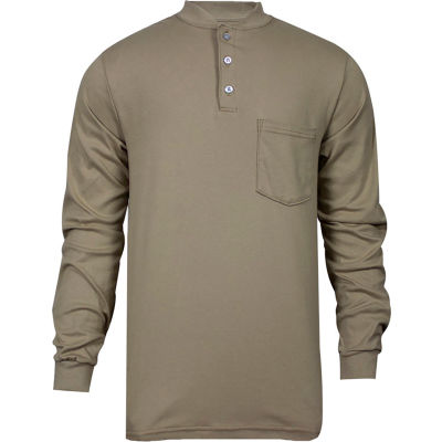 National Safety Apparel® Flame Resistant Classic Cotton Henley, XL, Khaki, C54PABSLSXL