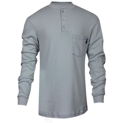 National Safety Apparel® Flame Resistant Classic Cotton Henley, L, Gray, C54PGBSLSLG