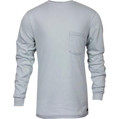 National Safety Apparel® FR Classic Cotton Long Sleeve T-Shirt, 3XL, Gray, C54PGLS3XL