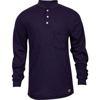 National Safety Apparel® Flame Resistant Classic Cotton Henley, L, Navy, C54PIBSLSLG