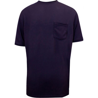 National Safety Apparel® FR Classic Cotton Short Sleeve T-Shirt, M, Navy, C54PIMD
