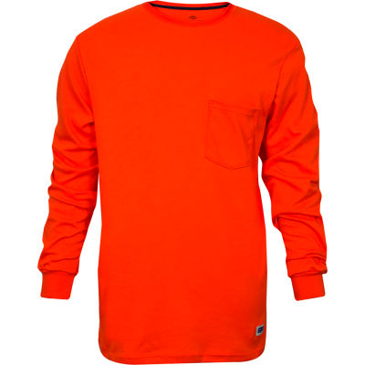 National Safety Apparel® FR Classic Cotton Long Sleeve T-Shirt, M, Orange, C54PQLSMD