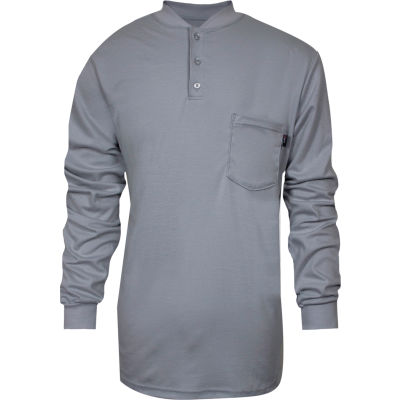 National Safety Apparel® TrueComfort® Flame Resistant Henley, L, Gray, C54VGBSLSLG