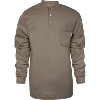National Safety Apparel® TrueComfort® Flame Resistant Henley, S, Khaki, C54VKBSLSSM