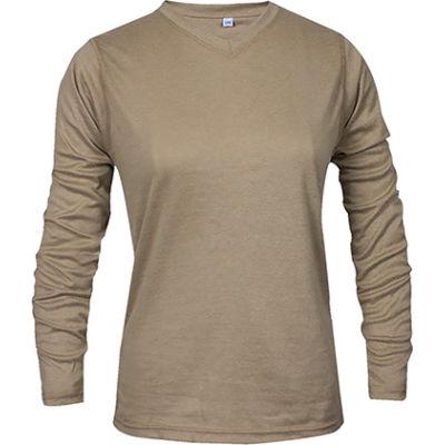 National Safety Apparel® Women's TrueComfort® FR Long Sleeve T-Shirt, S, Khaki, C54VKLSWSM