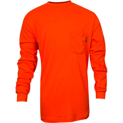 VIZABLE® Flame Resistant TrueComfort® Long Sleeve Flame Resistant T-Shirt, M, Orange