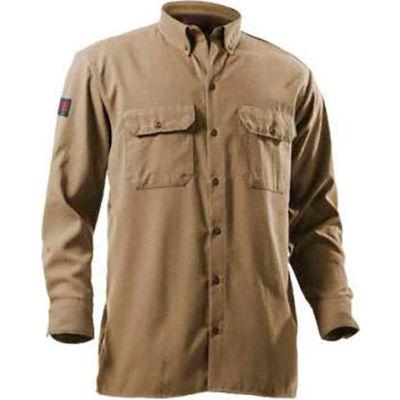 DRIFIRE® Flame Resistant Utility Shirt, 2XL, Tan, DF2-324LS-KH-2XL