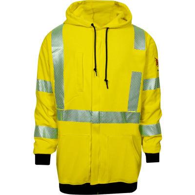 DRIFIRE® Hi-Vis Flame Resistant Hoodie, XL, Fluorescent Yellow