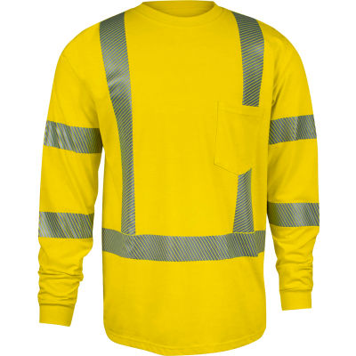 DRIFIRE® StrongKnit Hi-Vis Long Sleeve FR T-Shirt, Type R, Class 3, 2XL, Yellow