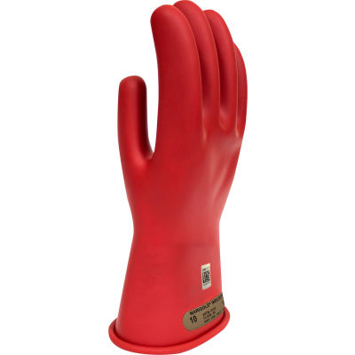 ArcGuard® Class 00 Rubber Voltage Gloves, Red, Size 10, GC00R10