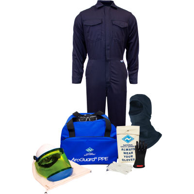 ArcGuard® KIT2CV11B2X10 12 cal UltraSoft Arc Flash Kit, Coverall & Balaclava, 2XL, Glove Sz 10