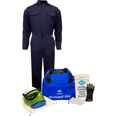 ArcGuard® KIT2CV11LG08 12 cal/cm2 UltraSoft Arc Flash Kit with FR Coverall, LG, Glove Size 08