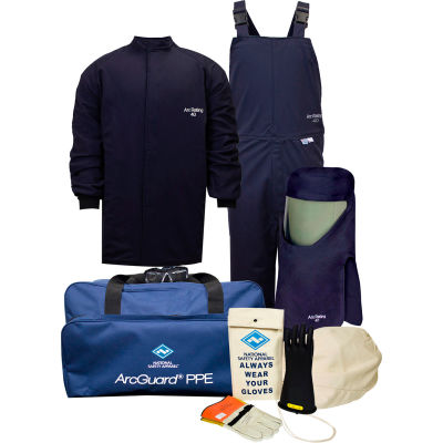 ArcGuard® KIT4SC40S11 40 cal Compliance Arc Flash Kit w/ Short Coat & Bib Overall, S, Sz 11