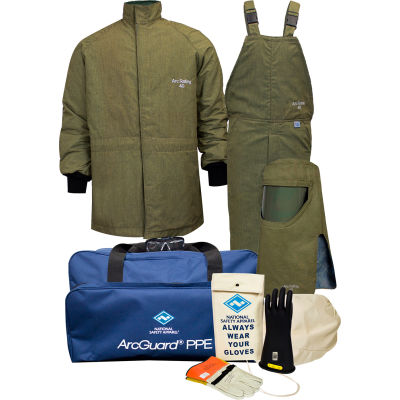 ArcGuard® KIT4SCLT40L10 40 cal RevoLite Arc Flash Kit w/ Short Coat & Bib Overall, L, Sz 10