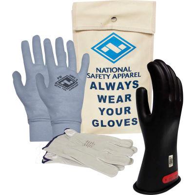 ArcGuard® Class 0 ArcGuard Rubber Voltage Glove Kit, Black, Size 10, KITGC0B10